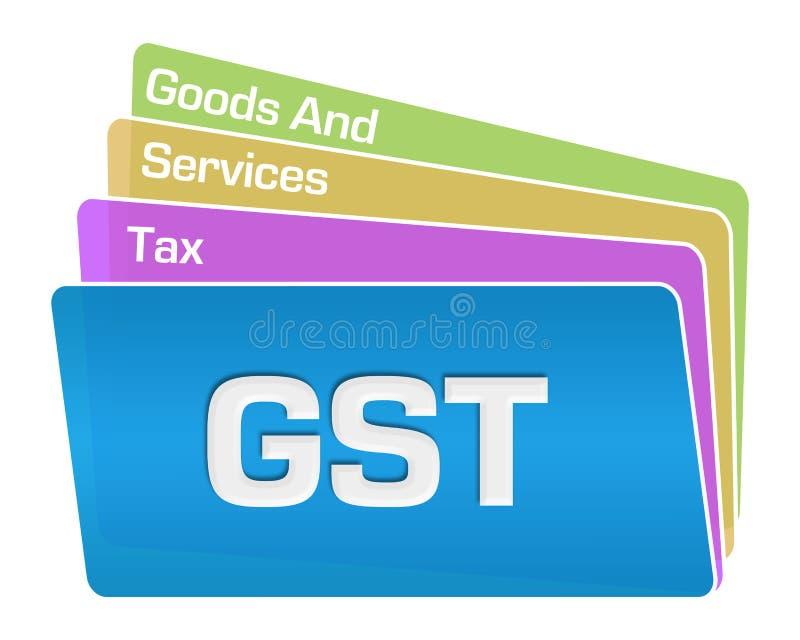 GST - Towary I Usługi podatku teksta kwadratów Kolorowa sterta royalty ilustracja
