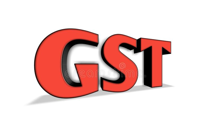 GST word in 3d illustration. stock illustration