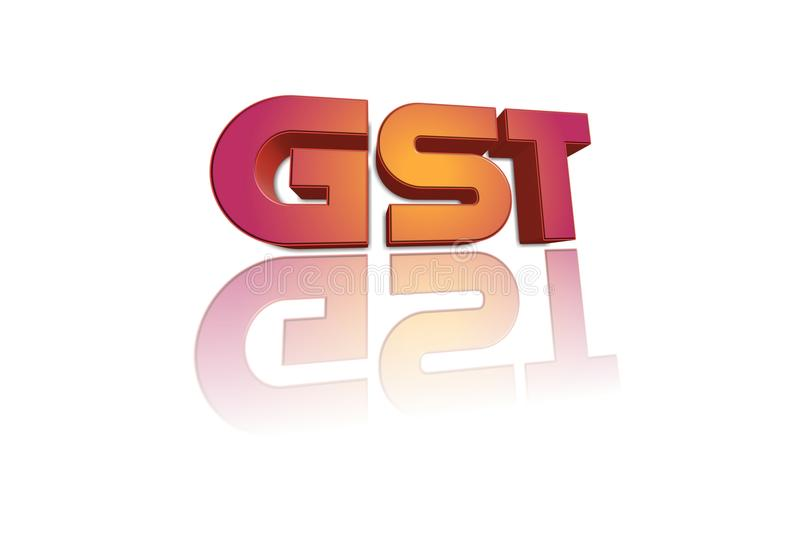 GST word in 3d illustration. royalty free illustration