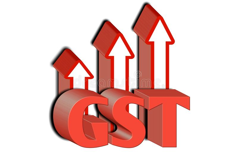 GST word with 3 red arrow.3d illustration. stock illustration