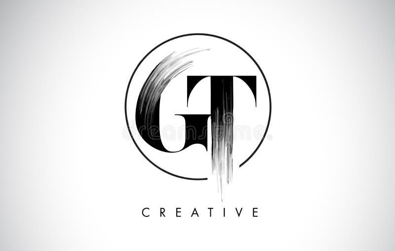 GT muśnięcia uderzenia listu loga projekt Czarny farba logo Pisze list ikonę royalty ilustracja