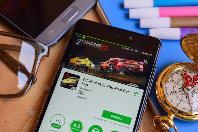 GT Racing 2: The Real Car Exp dev app on Smartphone screen. BEKASI, WEST JAVA, INDONESIA. SEPTEMBER 2, 2018 : GT Racing 2: The Real Car Exp dev app on royalty free stock image