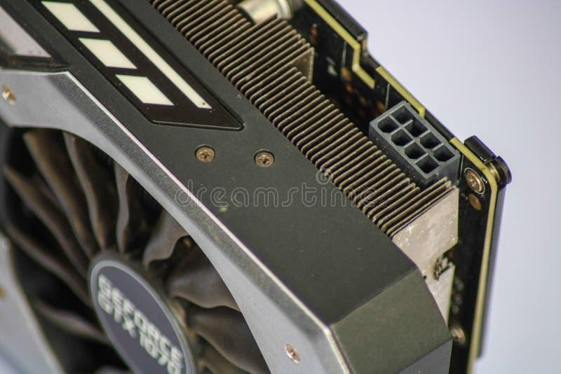 GTX 1070 che mostra 8 il connettore del perno PCI-E immagini stock
