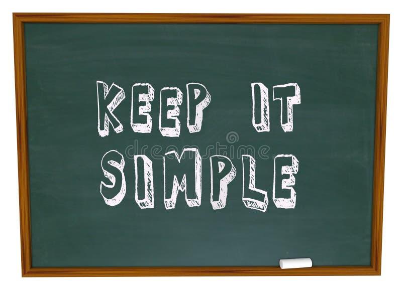 Guárdelo lección simple del consejo de la simplicidad de la pizarra de las palabras ilustración del vector