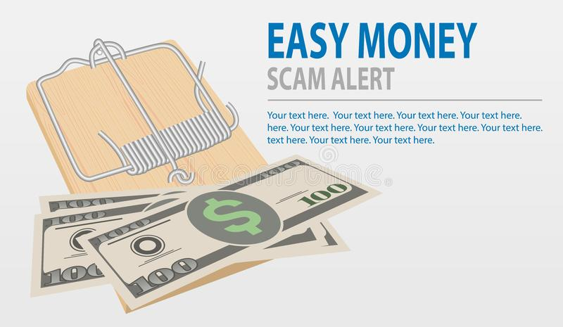 Guárdese de los timos, concepto del dinero fácil Ratonera del vector con el dinero aislado en fondo gris stock de ilustración