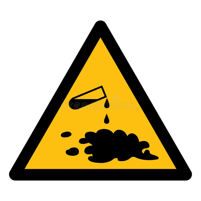 Guárdese del aislante químico de la muestra del símbolo del derramamiento en el fondo blanco, ejemplo EPS del vector 10 libre illustration