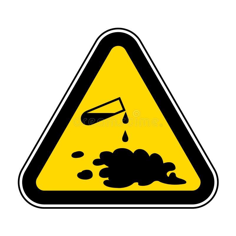 Guárdese del aislante químico de la muestra del símbolo del derramamiento en el fondo blanco, ejemplo EPS del vector 10 stock de ilustración