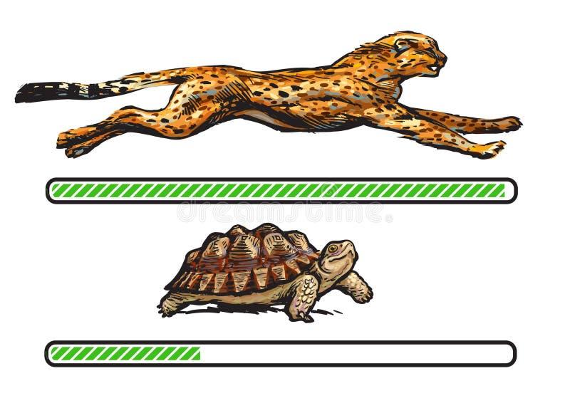 Guépard et tortue Barre de chargement rapide et lente illustration de vecteur
