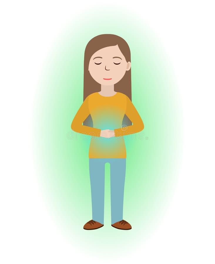 Guérison énergique La fille se guérissent avec le champ d'énergie Guérison de Pranic illustration de vecteur