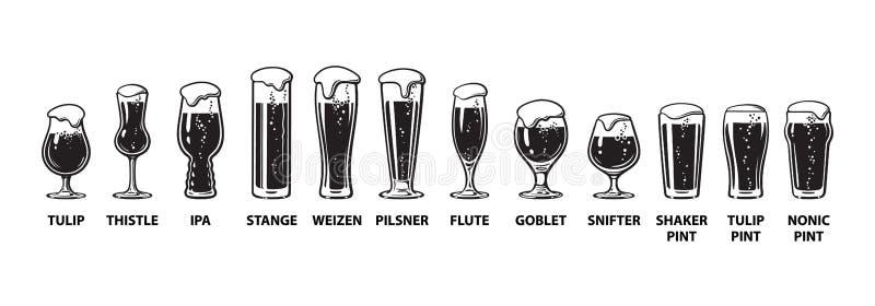 Guía de la cristalería de la cerveza Diversos tipos de vidrios de cerveza Ejemplo dibujado mano del vector en el fondo blanco libre illustration