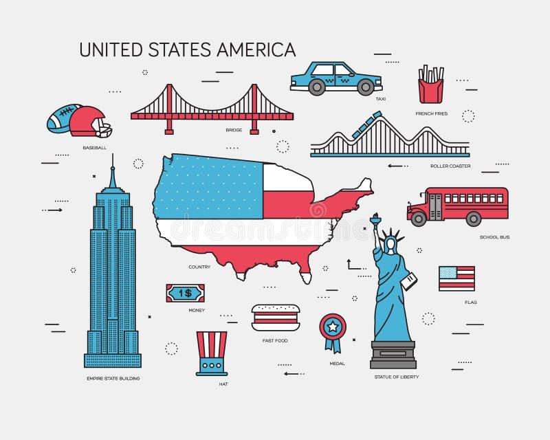 Guía de las vacaciones del viaje de los E.E.U.U. del país de mercancías, de lugares y de características Sistema de arquitectura, libre illustration
