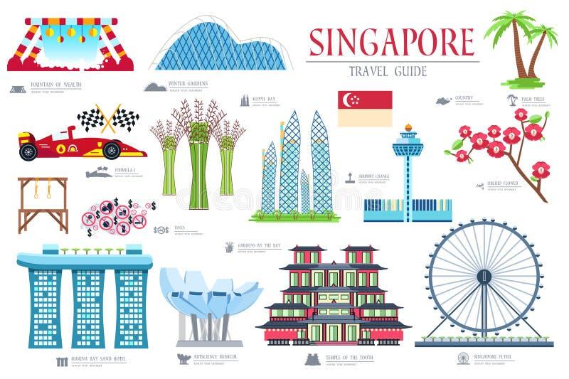 Guía de las vacaciones del viaje de Singapur del país de mercancías, de lugares y de características Sistema de arquitectura, art stock de ilustración