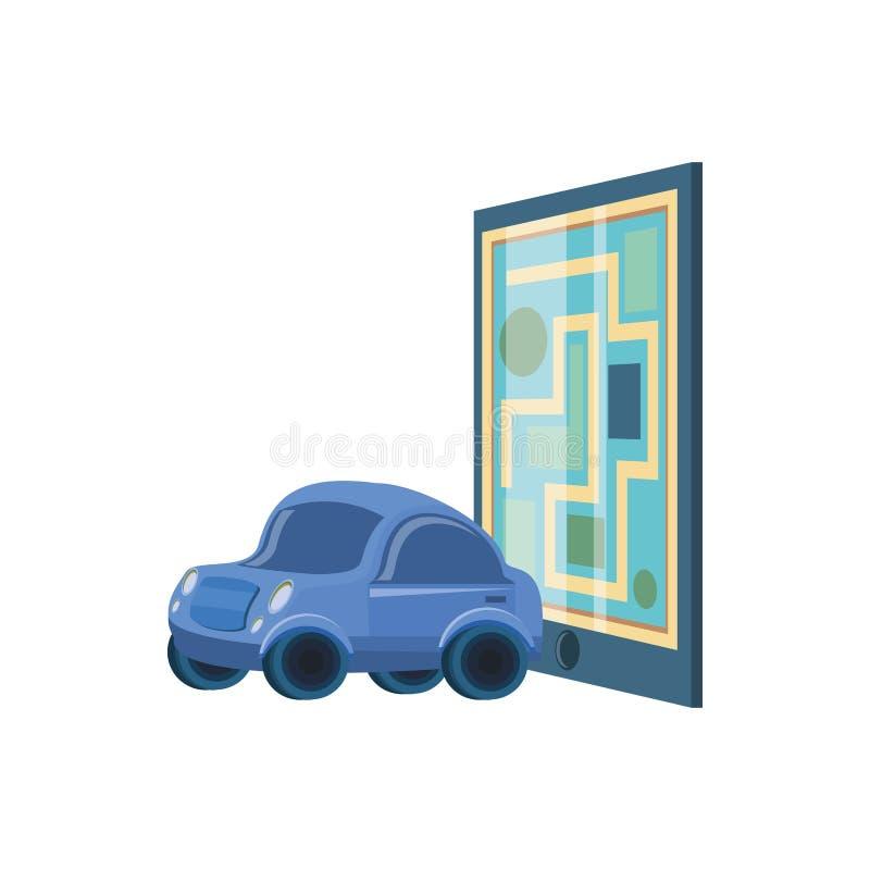 Guía de papel del mapa con el coche stock de ilustración