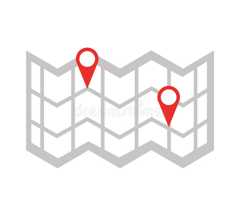 Guía de papel del mapa con la ubicación del perno libre illustration