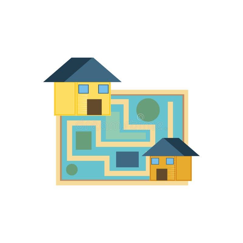 Guía de papel del mapa con las casas stock de ilustración