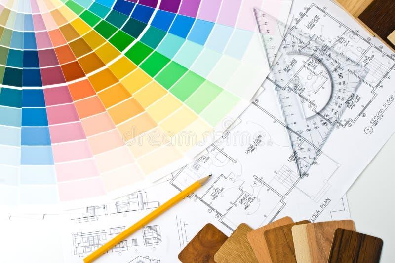 Guía del color, muestras materiales y modelo fotos de archivo libres de regalías