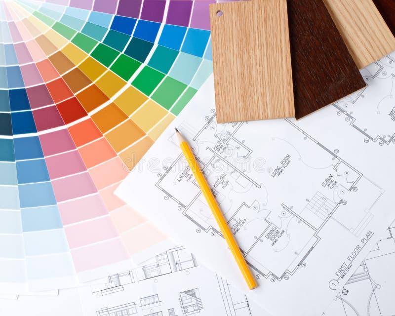 Guía del color, muestras materiales y modelo imagenes de archivo