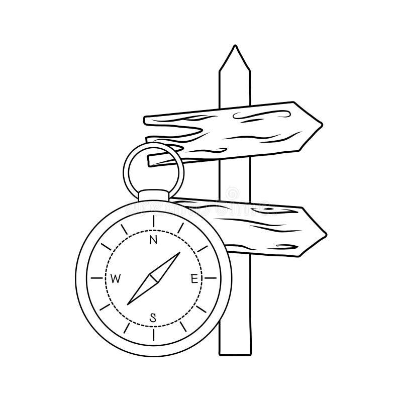 Guía del compás con la flecha de madera de la guía stock de ilustración