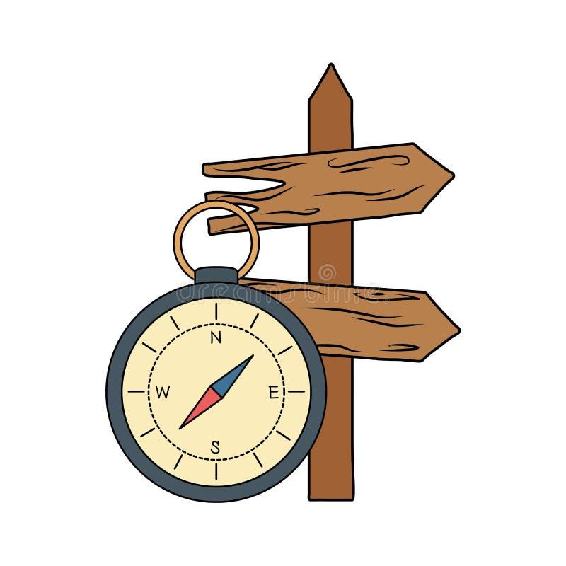 Guía del compás con la flecha de madera de la guía ilustración del vector