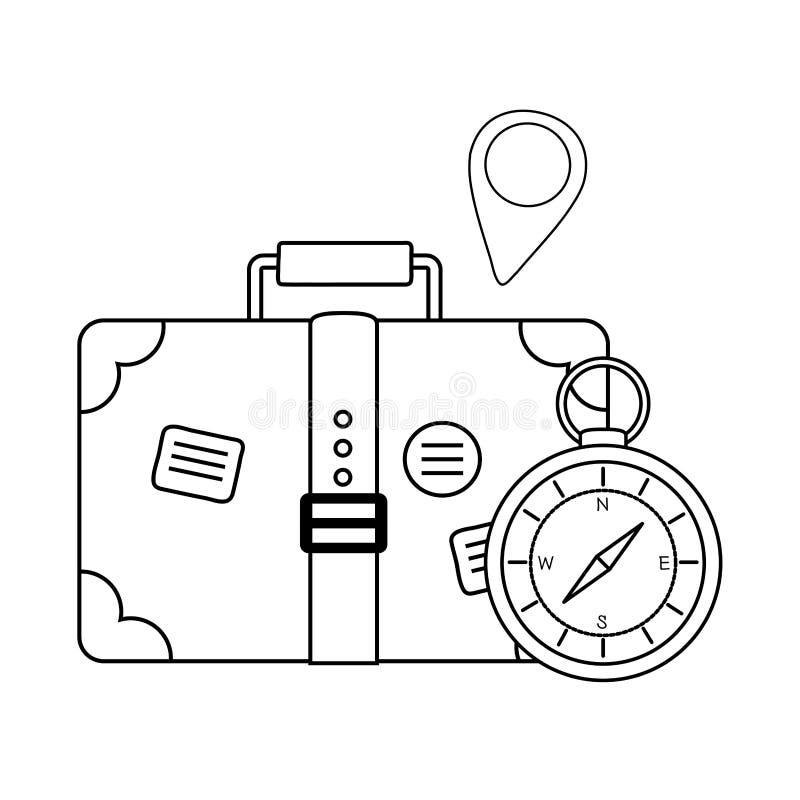 Guía del compás con la maleta y el perno ilustración del vector