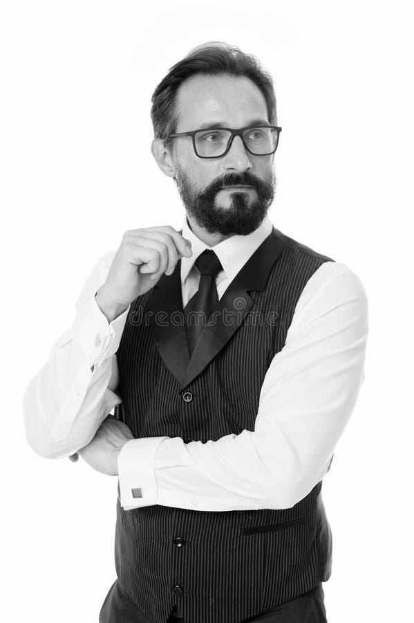 Guía a las lentes y a los marcos de la lente de la prescripción Ropa formal clásica del hombre de negocios y blanco apropiado de  fotografía de archivo