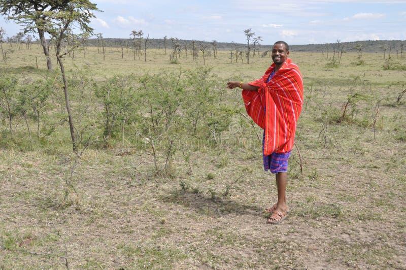 Guía Massai Mara Park Kenya de Massai foto de archivo