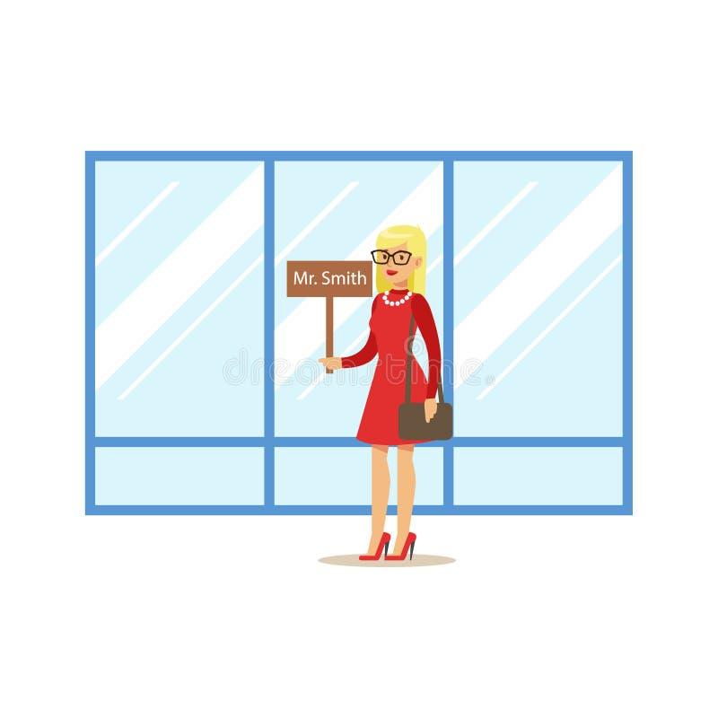 Guía turística con llegada de la huésped de la muestra del nombre que espera para, parte del aeropuerto y serie relacionada de la libre illustration
