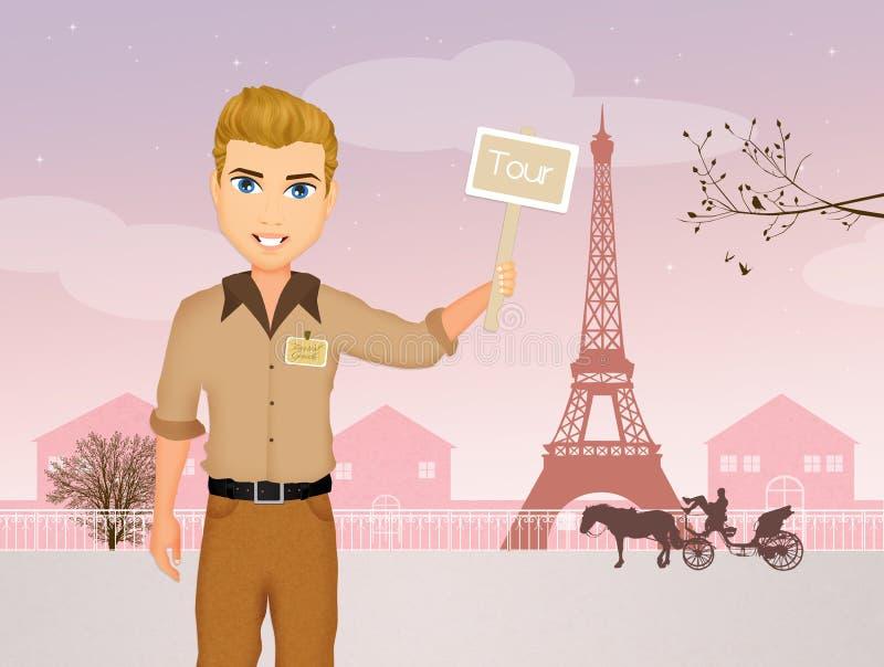 Guía turística en París stock de ilustración