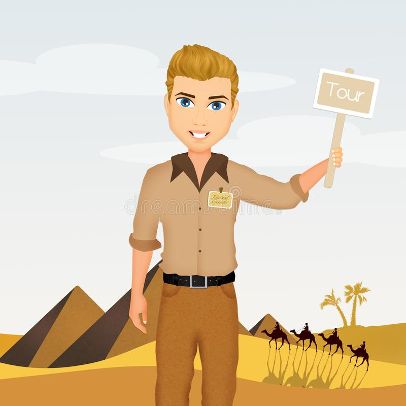 Guía turístico en Egipto stock de ilustración