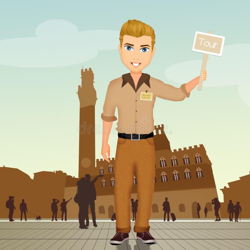 Guía turístico en Siena libre illustration