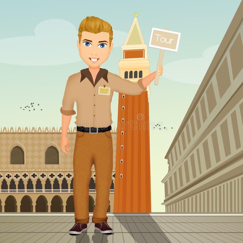 Guía turístico en Venecia ilustración del vector