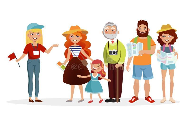 Guía y grupo de turistas que escuchan ella y que tienen un ejemplo del vector de la excursión en diseño plano Diversa gente libre illustration