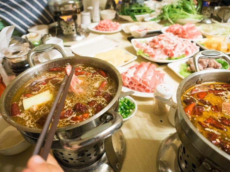 Gua di Hua - shabu cinese di shabu dello stufato di castrato fotografie stock