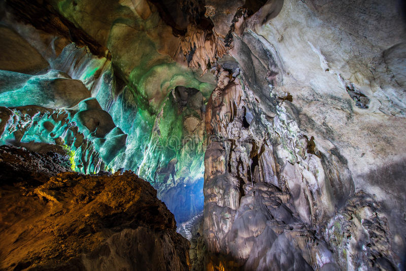 Gua Tempurung is a cave in Gopeng, Perak. It is popular among spelunkers, or caving enthusiasts. More than 3 km long, it is one of the longest caves in stock photography