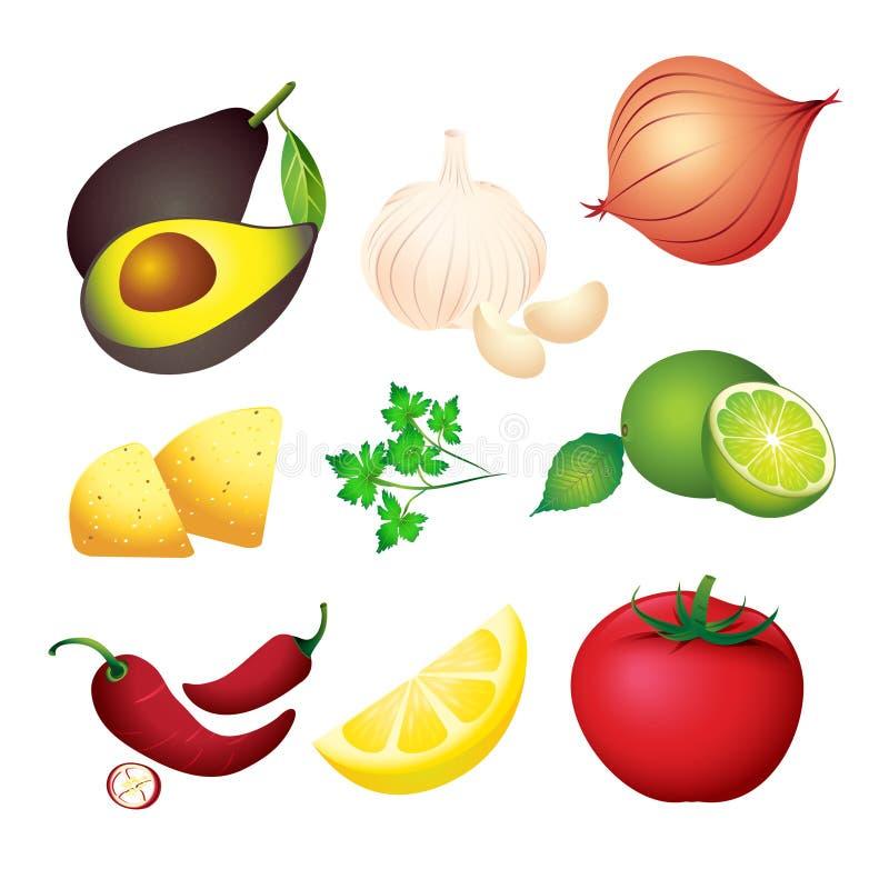 Guacamole-Bestandteile stock abbildung