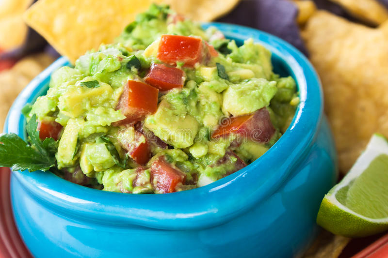 Guacamole Bowl With Chips Royalty Free Stock Photography