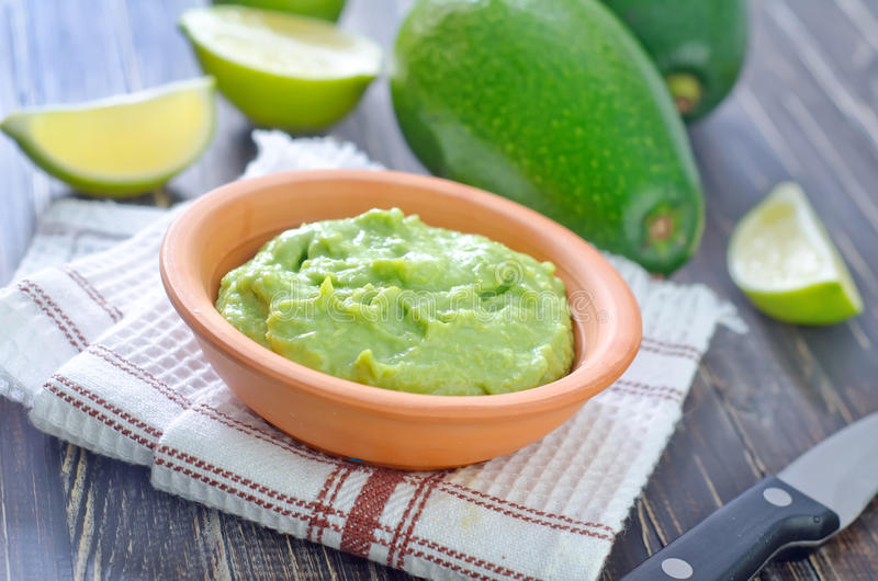 Guacamole. In the brown bowl stock photo