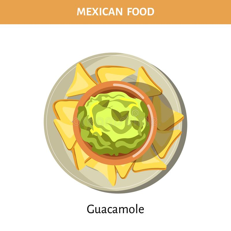 Guacamole and crispy chips on plate from Mexican food royalty free illustration