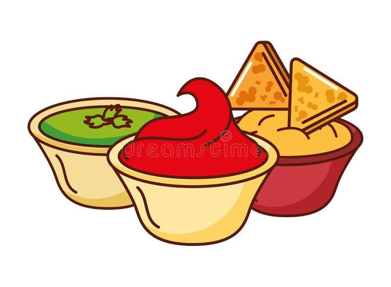 Guacamole do queijo dos Nachos e alimento mexicano do piment?o tradicional fotografia de stock royalty free