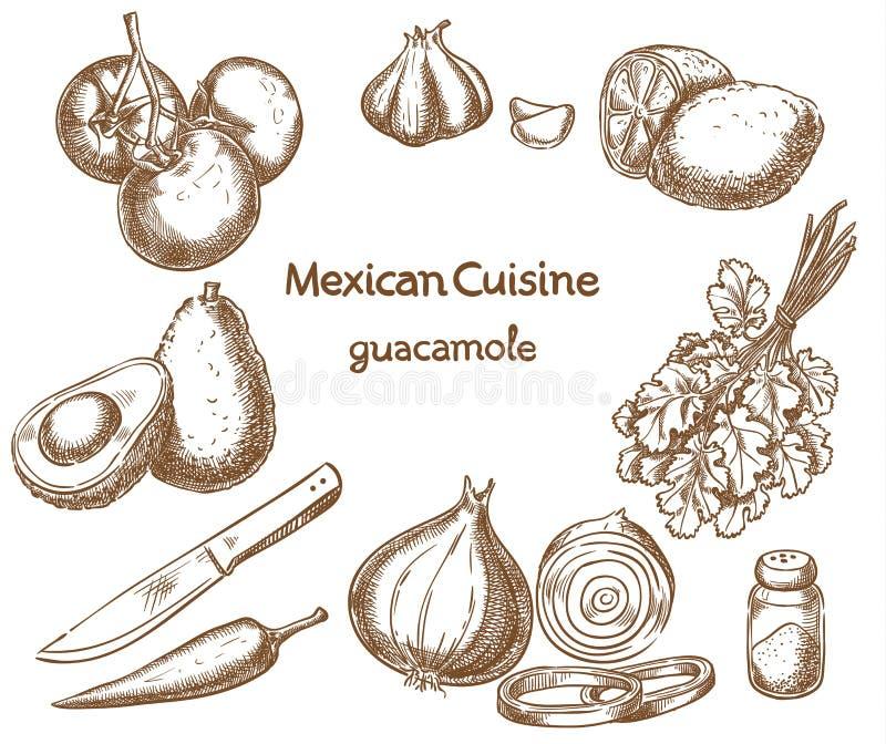 Guacamole, ingrediënten van het voedsel vector illustratie