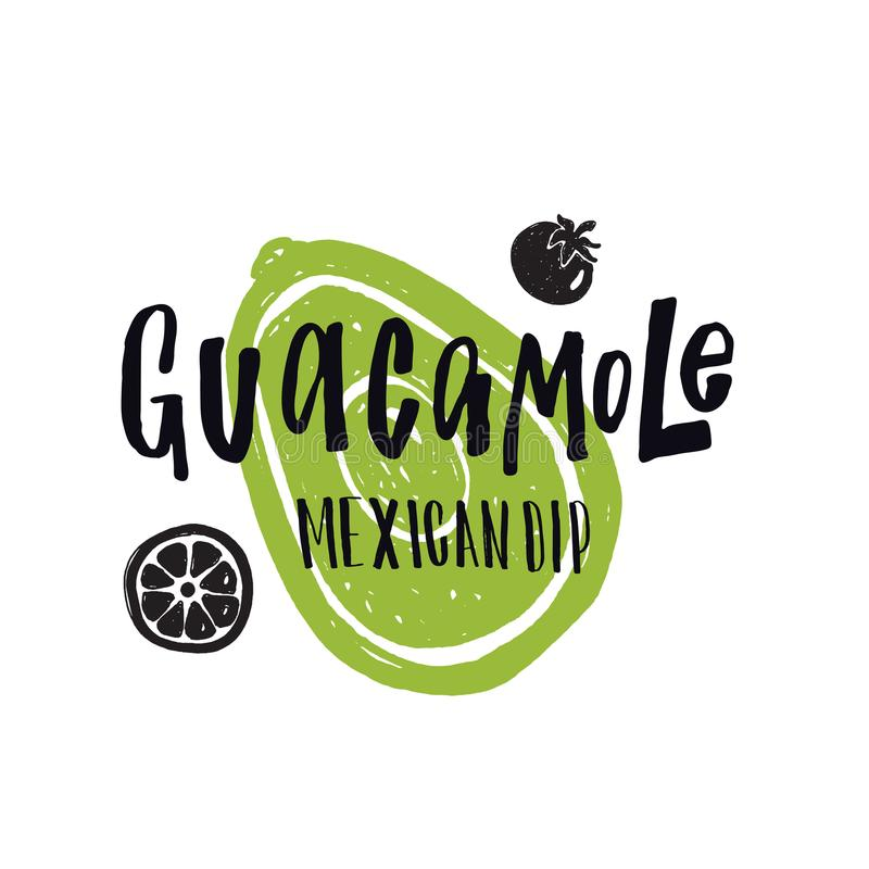 Guacamole. Mexican dip. royalty free illustration