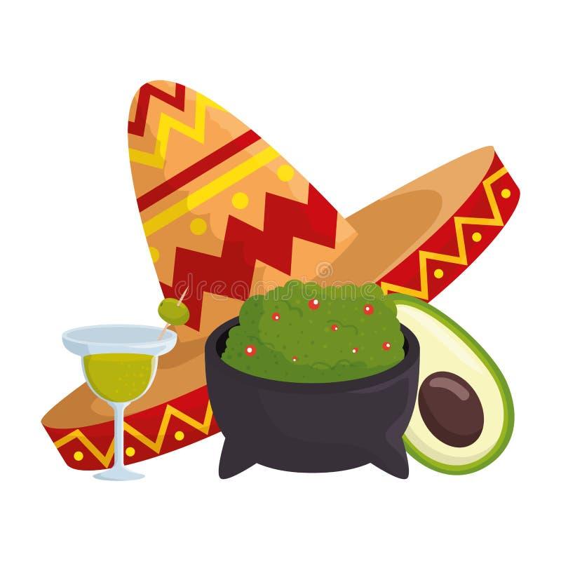Guacamole mit mexikanischem Hut und Margarita lizenzfreie abbildung