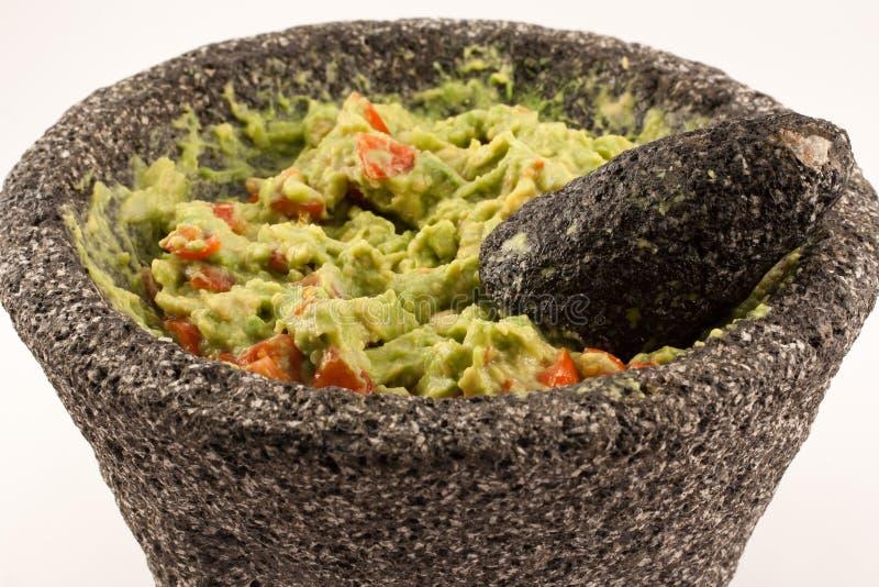 Guacamole in Molcajete stock afbeeldingen