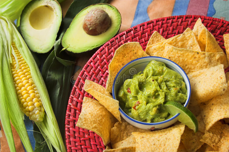 Guacamole and nacho chips royalty free stock photo