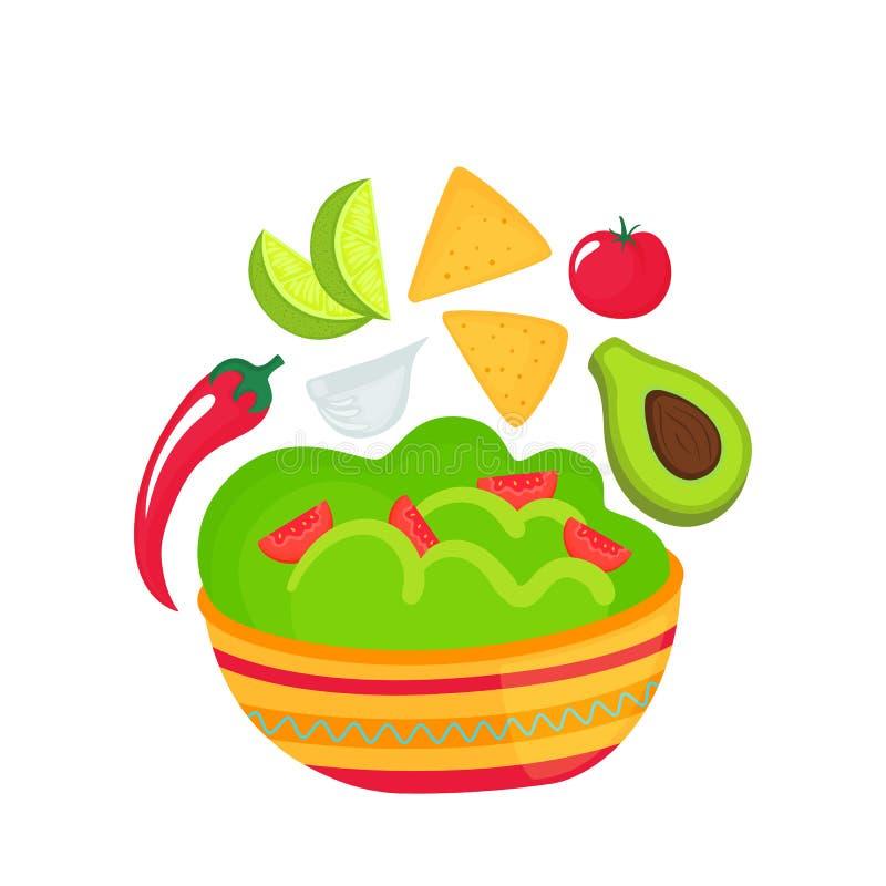 Guacamole - naczynie krajowa Meksyka?ska kuchnia Pomidor, czosnek, wapno plasterki, avocado, chili pieprz, kukurydzanych uk?ad?w  royalty ilustracja