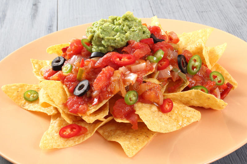 Guacamole salad with tortillas royalty free stock photo