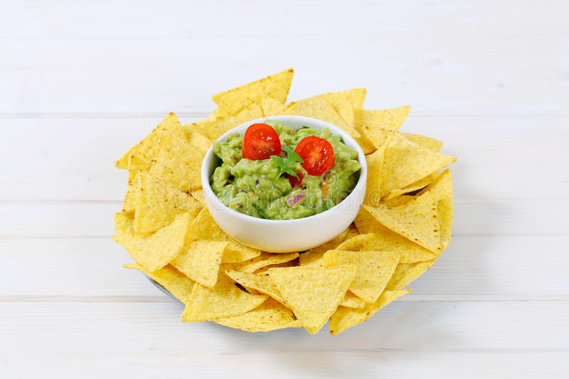 Download Guacamole With Tortilla Chips Stock Photo - Image: 83708346