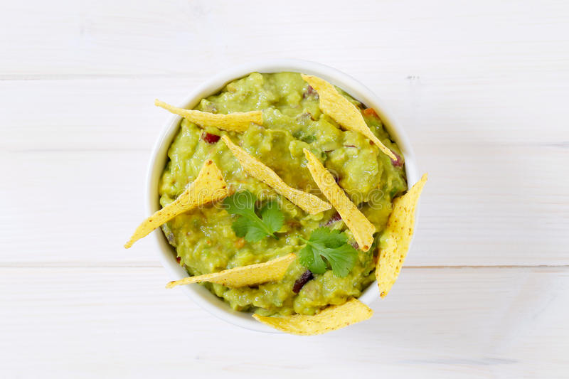 Download Guacamole With Tortilla Chips Stock Image - Image of avocado, above: 83708771