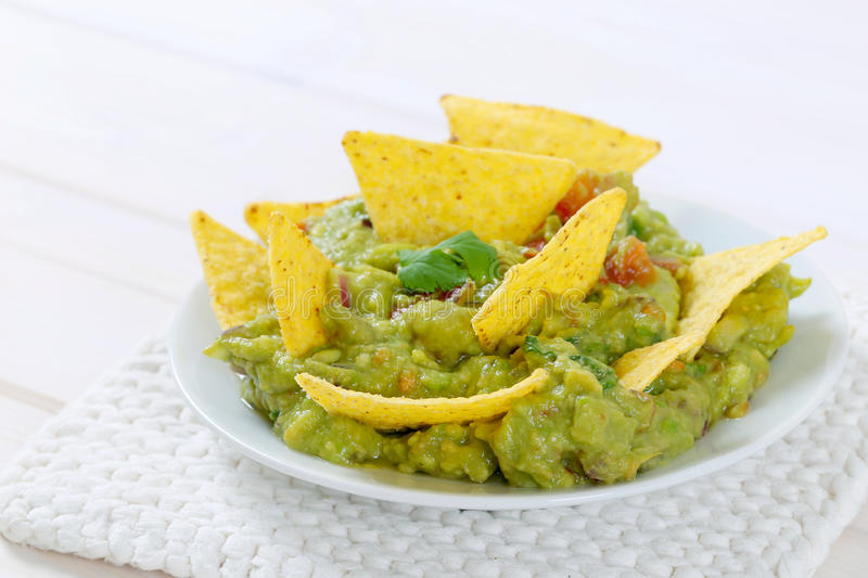 Download Guacamole With Tortilla Chips Stock Photo - Image: 83708334