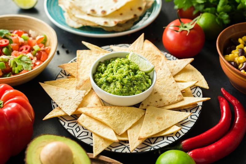 Guacamole, tortilla chips and salsa. Mexican food selection. Closeup view, selective focus royalty free stock photography